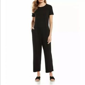 Eileen Fisher Black Pocket Jersey Knit Jumpsuit